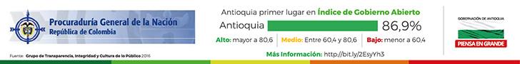 Antioquia primer lugar en índice de Gobierno Abierto